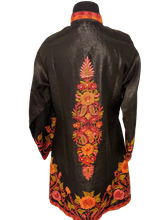 Load image into Gallery viewer, Black floral Ari Silk Jacket