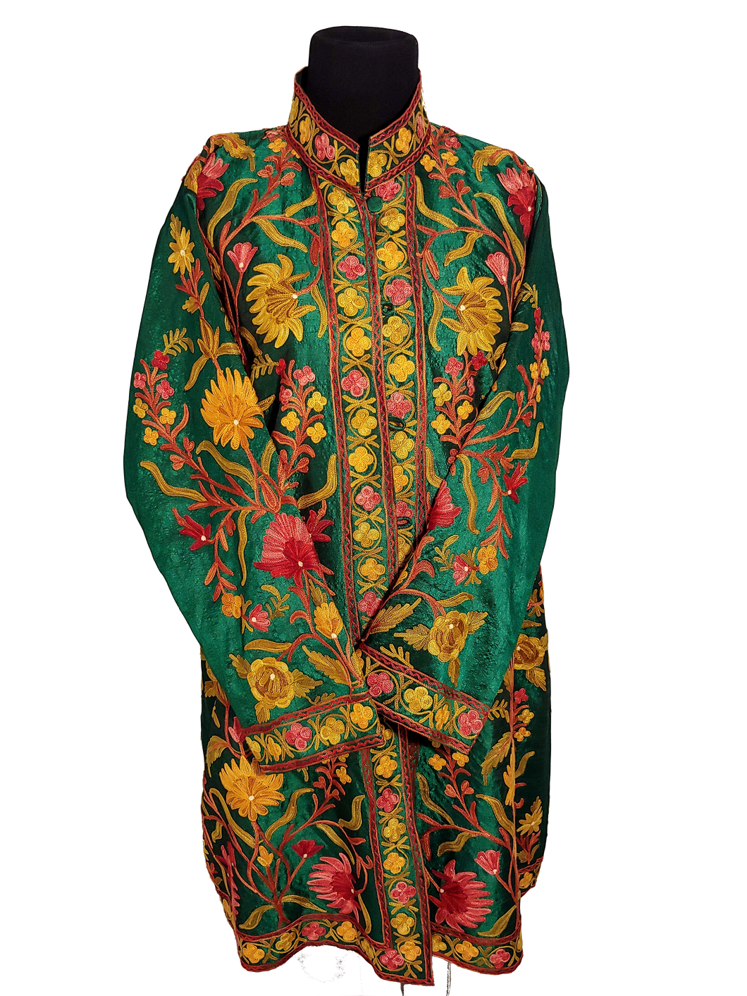 Green Kashmiri Ari embroireded floral silk jacket