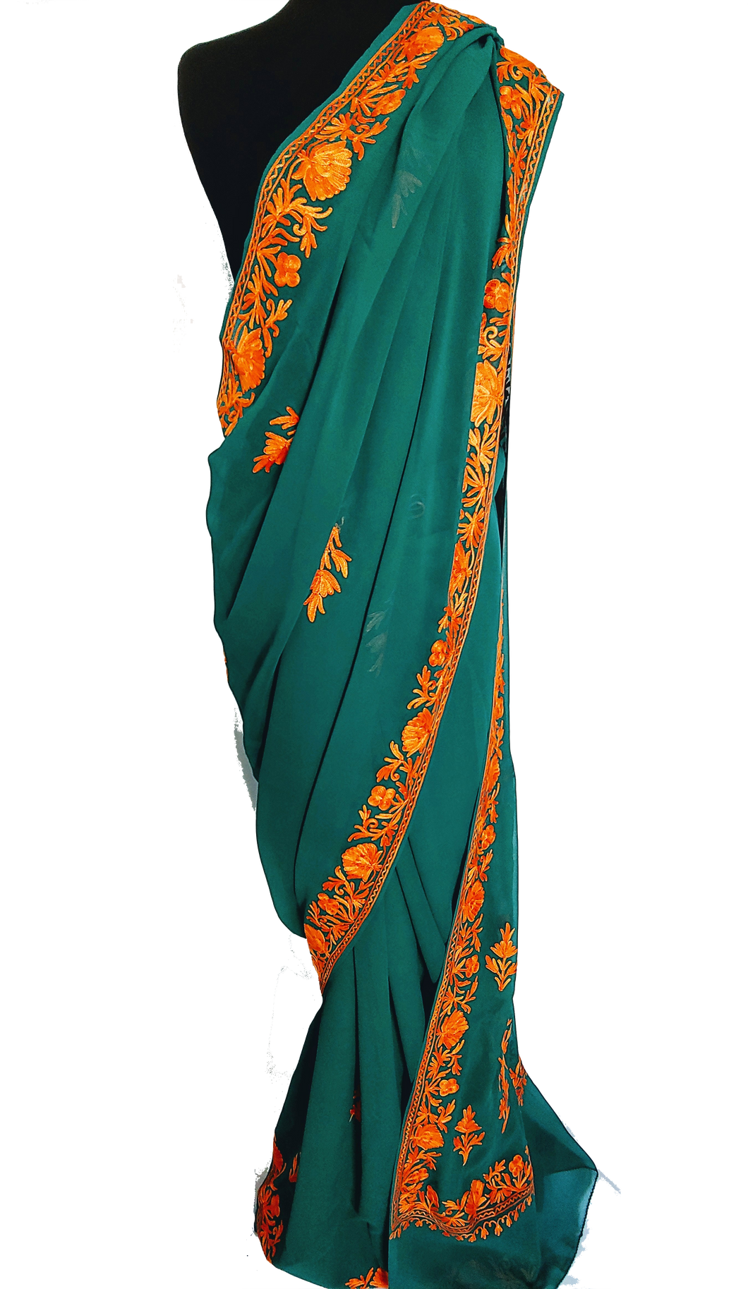 Green Kashmiri Aari embroided Saree