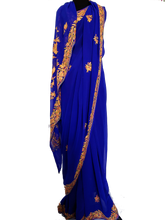 Load image into Gallery viewer, Blue Kashmiri Aari embroidered Saree