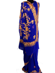 Blue Kashmiri Aari embroidered Saree