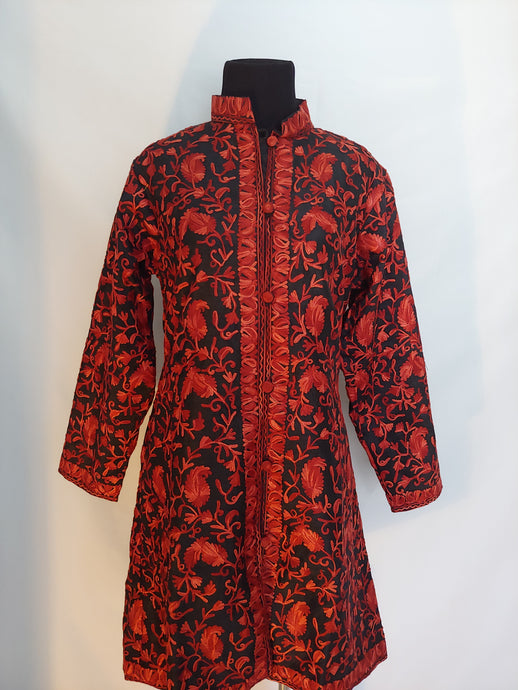 royal Black Kashmir Ari embroidered silk jacket