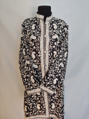 Black and white Kashmiri Ari embroidered silk jacket