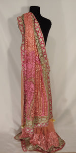 Kashmiri Aari embroided Net Saree (Pink)