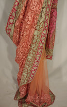 Load image into Gallery viewer, Kashmiri Aari embroided Net Saree (Pink)