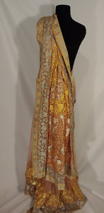 Kashmiri Aari embroided Net Saree (yellow)