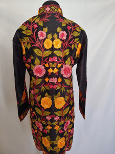Black Kashmiri Ari embroidered silk jacket