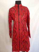 Load image into Gallery viewer, Black and red Kashmiri Ari embroidered silk jacket