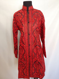 Black and red Kashmiri Ari embroidered silk jacket