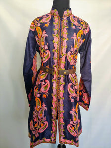 Blue Kashmiri Ari embroidered silk jacket