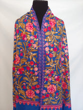 Load image into Gallery viewer, Artistic blue Kashmiri Ari embroidered stole