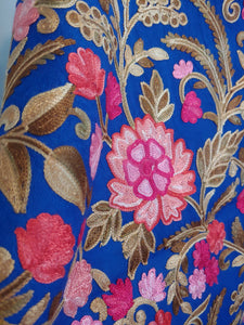 Artistic blue Kashmiri Ari embroidered stole
