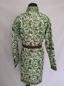 Cream and green Kashmiri embroidered Ari Silk Jacket