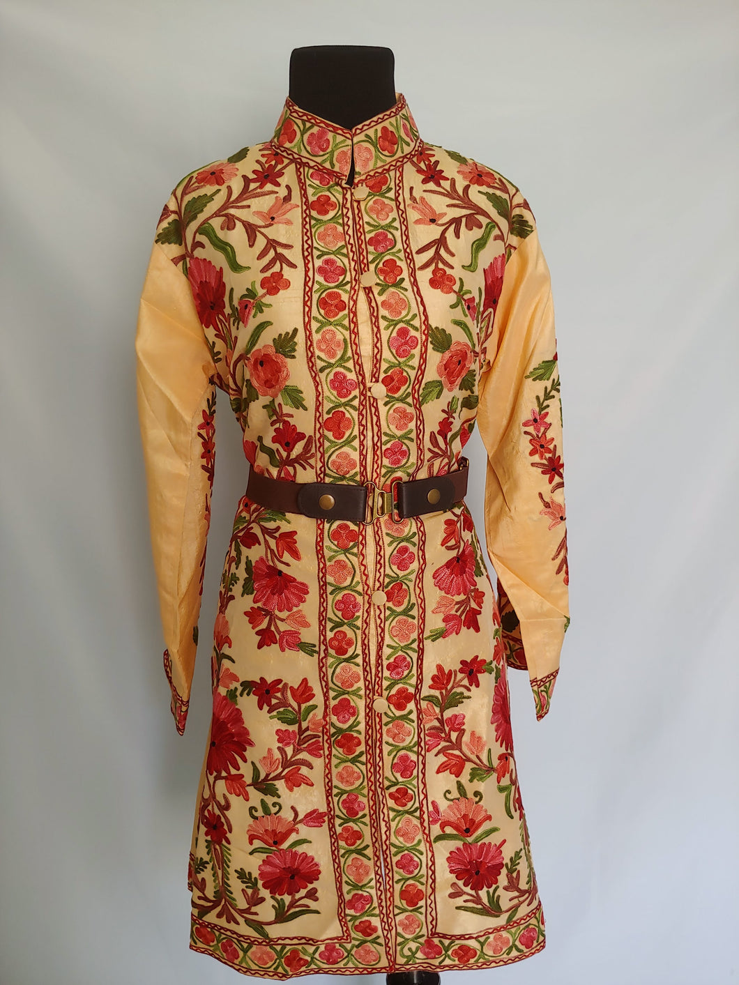 Faan multicolor Kashmiri Ari embroidered Silk Jacket