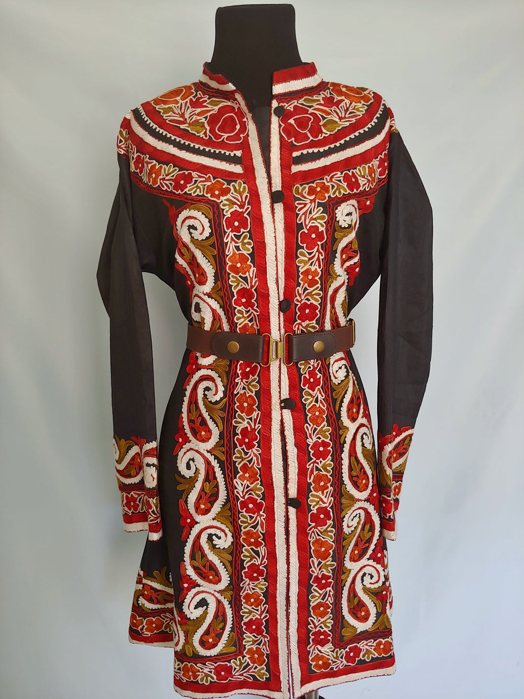 black multicolor Kashmiri Ari embroidered Silk Jacket