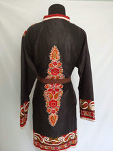 Load image into Gallery viewer, black multicolor Kashmiri Ari embroidered Silk Jacket