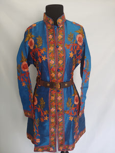 Blue multicolor Kashmiri Ari embroidered Silk Jacket