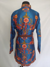 Load image into Gallery viewer, Blue multicolor Kashmiri Ari embroidered Silk Jacket
