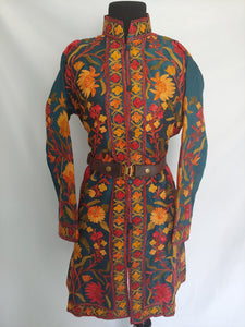 Green multicolor Kashmiri Ari embroidered Silk Jacket