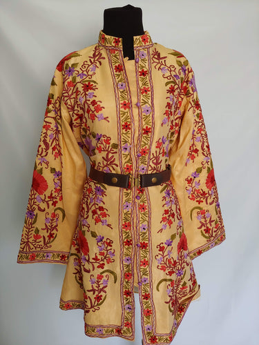Faan-2 multicolor Kashmiri Ari embroidered Silk Jacket