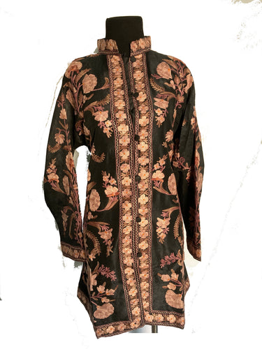 New Black Kashmiri Ari embroidered silk jacket (flowers)