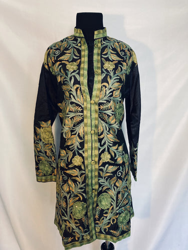New Black Kashmiri Ari embroidered silk jacket (Green flowers)