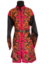 Load image into Gallery viewer, Black floral Ari Silk Jacket NEW