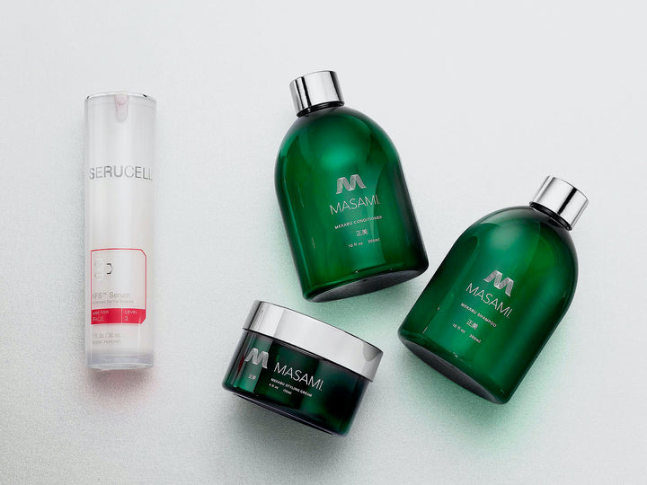 Picture of MASAMI haircare and Serucell skincare products.