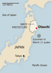 Map of Japan with Otsuchi, town in Iwate Prefecture highlighted