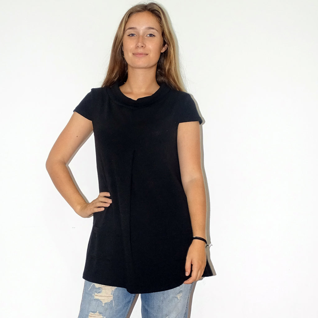 Classic Black Funnel Neck Tunic - Rebecca Ruby