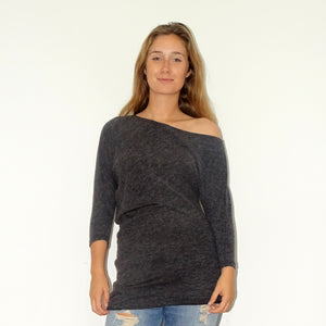 Charcoal Bat-wing Tunic - Rebecca Ruby
