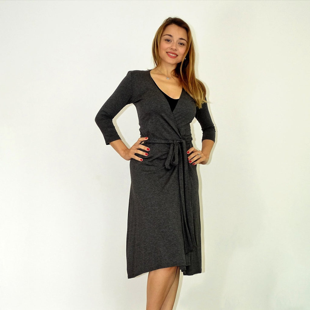 Smokey Grey Wrap Dress - Rebecca Ruby