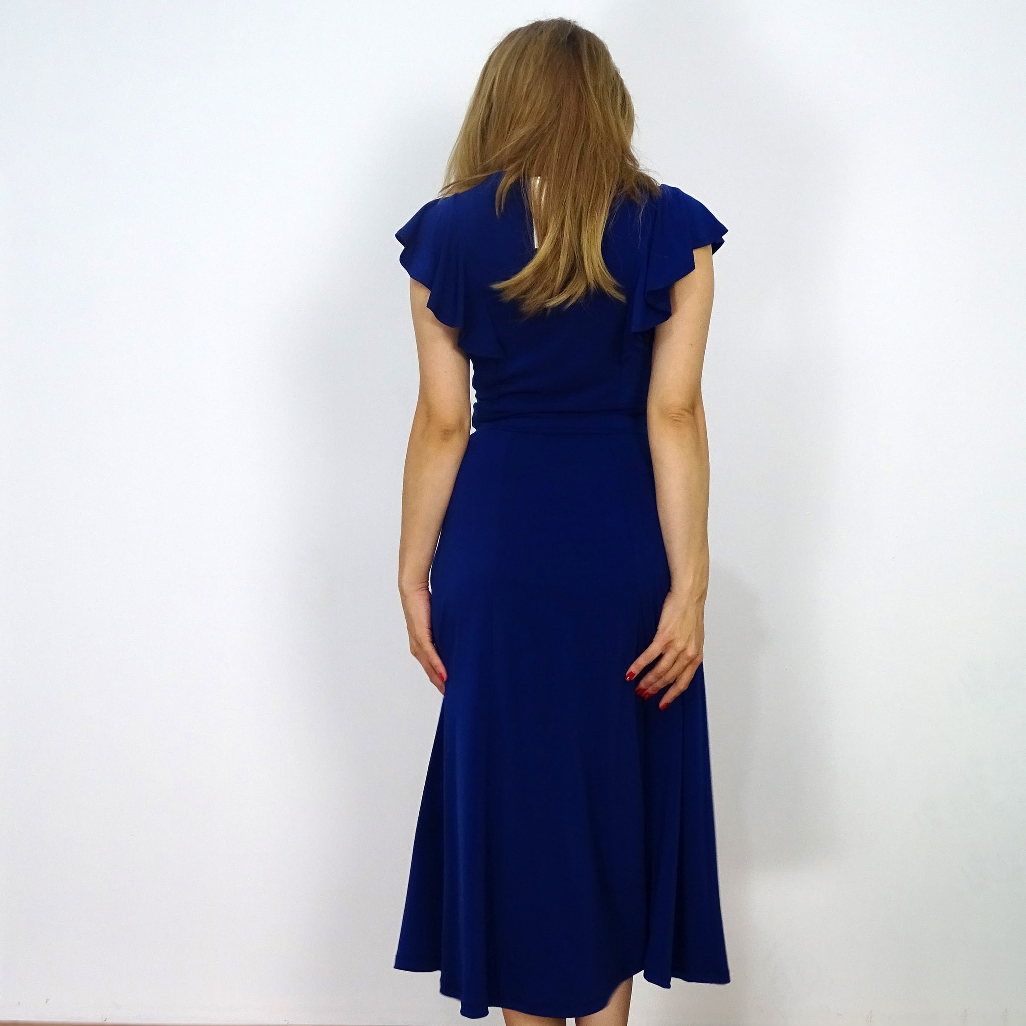 Sapphire Flounce Sleeve Dress - Rebecca Ruby