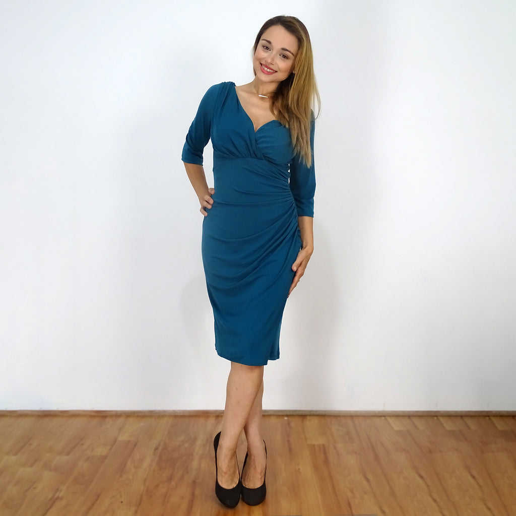 Teal Classic Ruched Dress - Rebecca Ruby