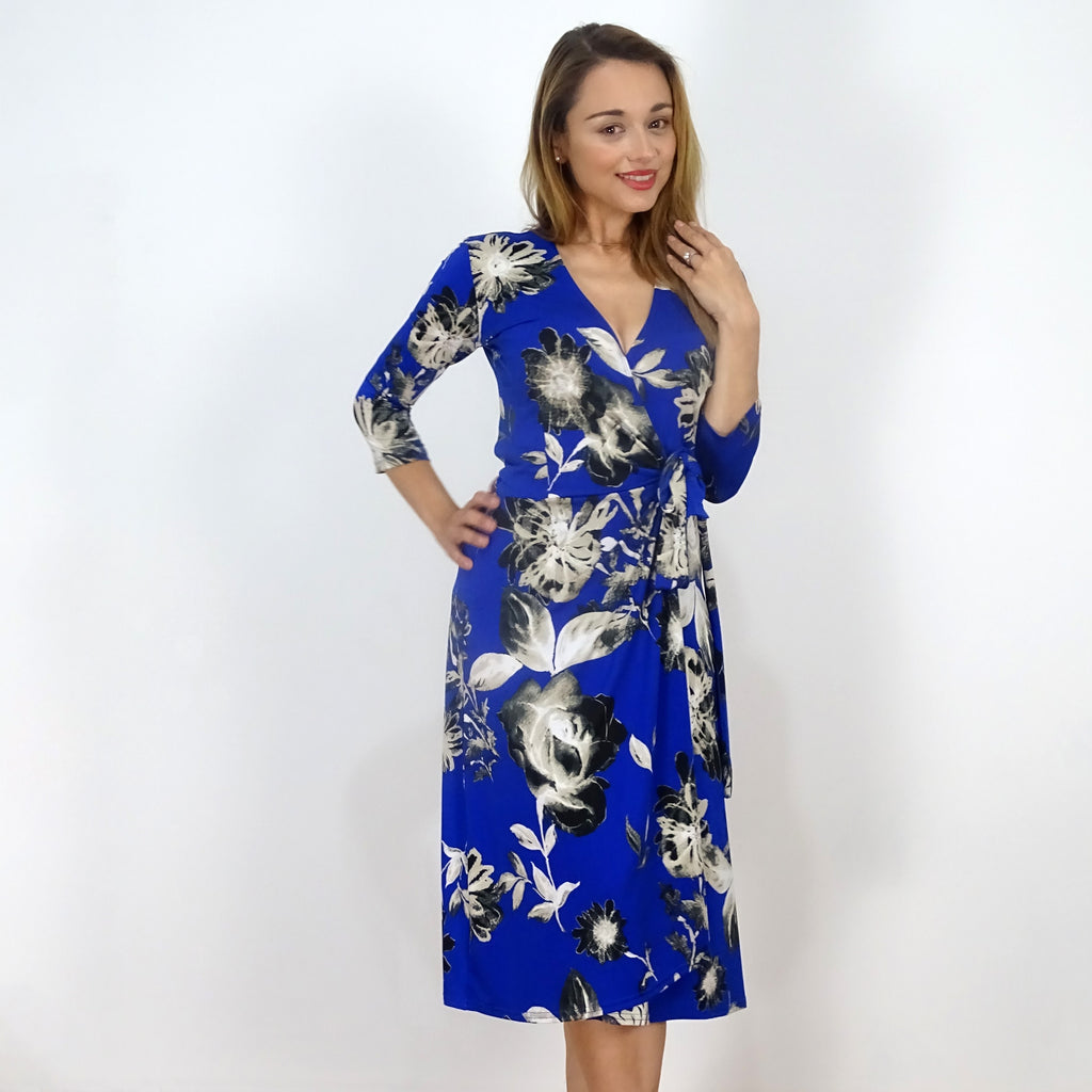 Blue Floral Noir Wrap Dress - Rebecca Ruby