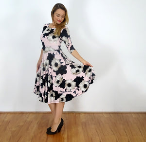 White Anemone Fit n' Flare Dress - Rebecca Ruby