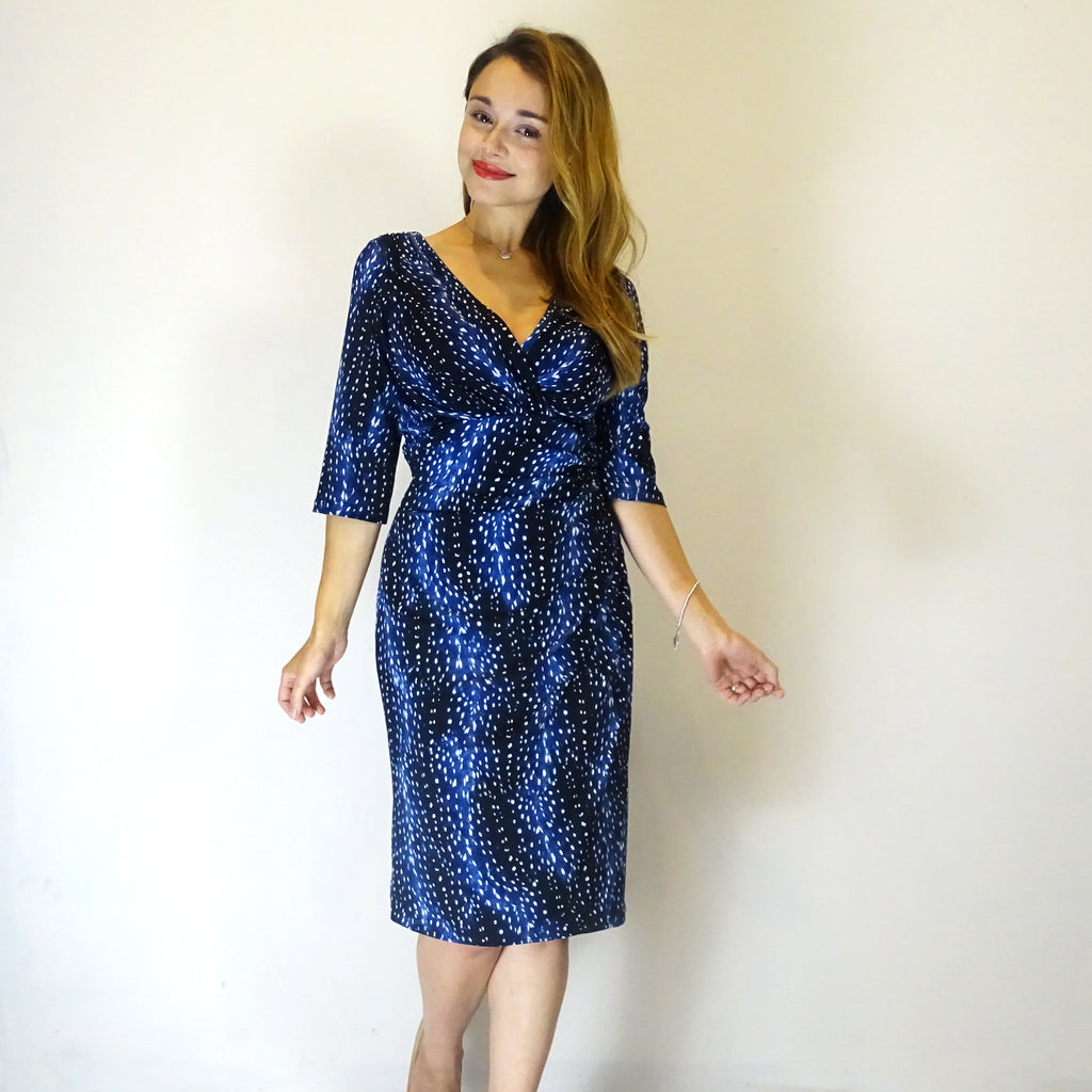 Raindrop 3/4 Sleeve Ruched Dress