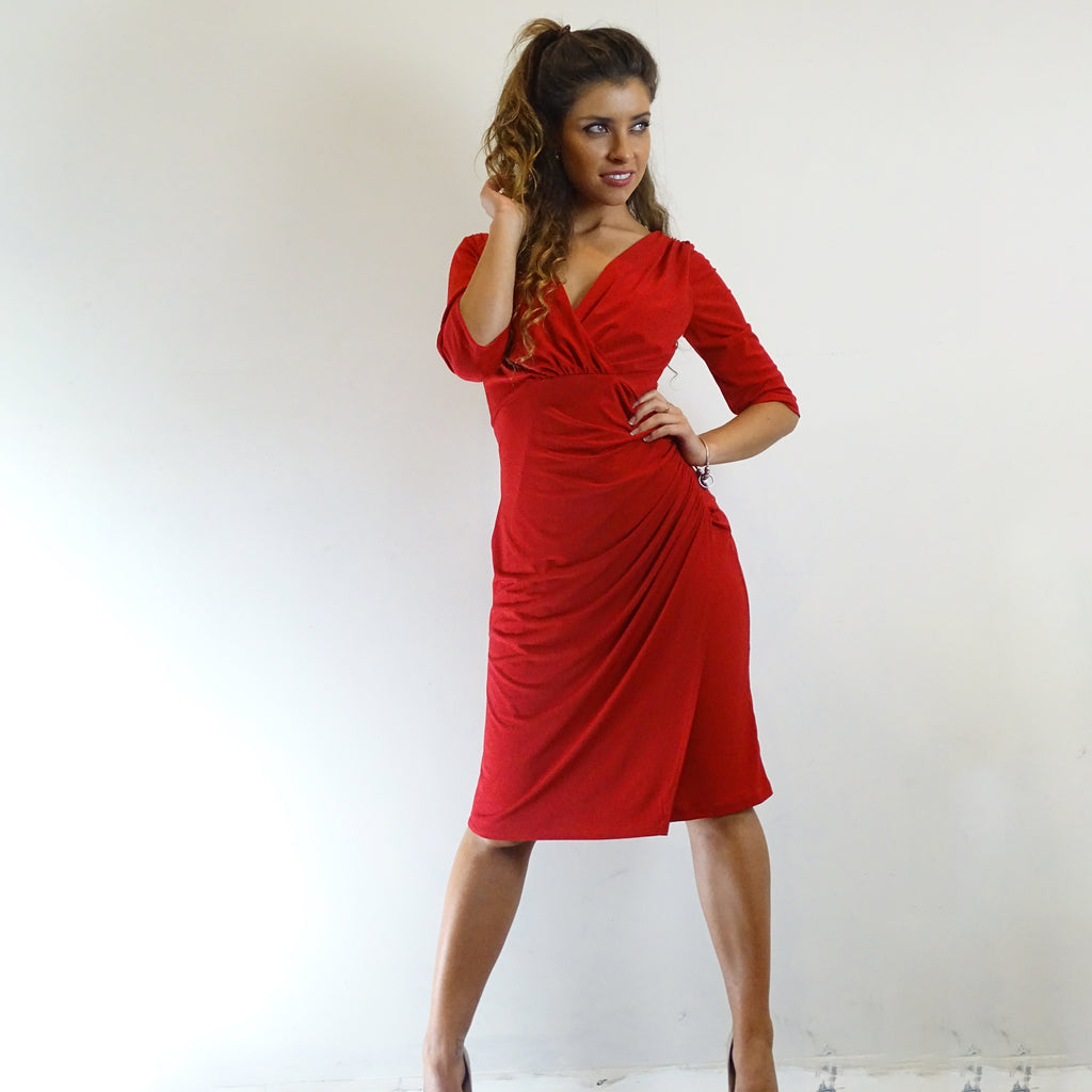 Ruby Red Ruched Dress