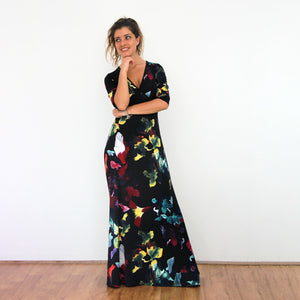 Neon Flowers Maxi Dress - Rebecca Ruby