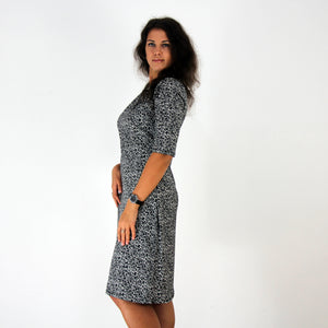 Leopard Shawl Collar Dress w/ Ruched Waist - Rebecca Ruby