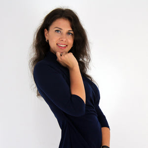 Navy Shawl Collared Dress - Rebecca Ruby
