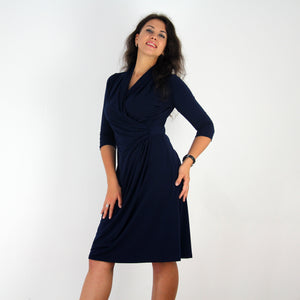Navy Shawl Collared Dress