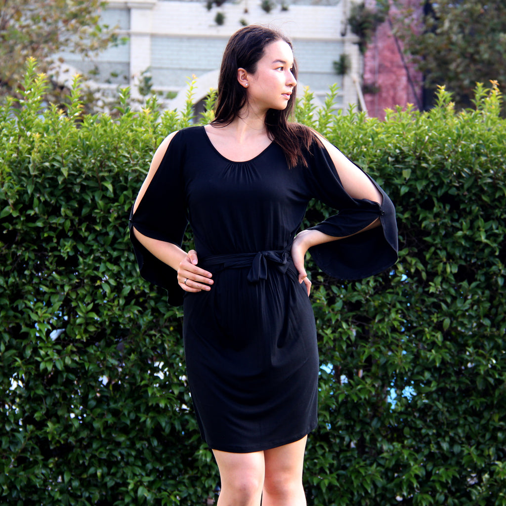 Classic Black Split-Sleeve Dress - Rebecca Ruby