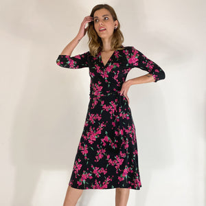 Crimson Flowers ¾ Sleeve Wrap Dress