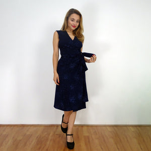 Midnight Sparkle Wrap Dress - Rebecca Ruby