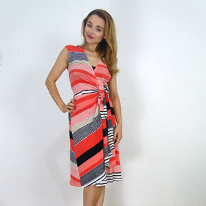 Santa Monica Bold Stripe Wrap Dress - Rebecca Ruby