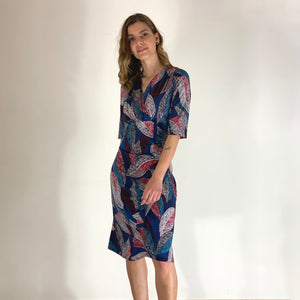 """Wild Leaves""  ¾ Sleeve Ruched Dress"