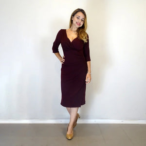 Burgundy Ruched Dress - Rebecca Ruby