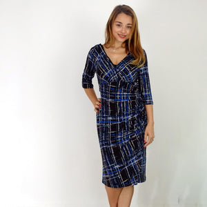 """Urban Chic""  ¾ Sleeve Ruched Dress - Rebecca Ruby"