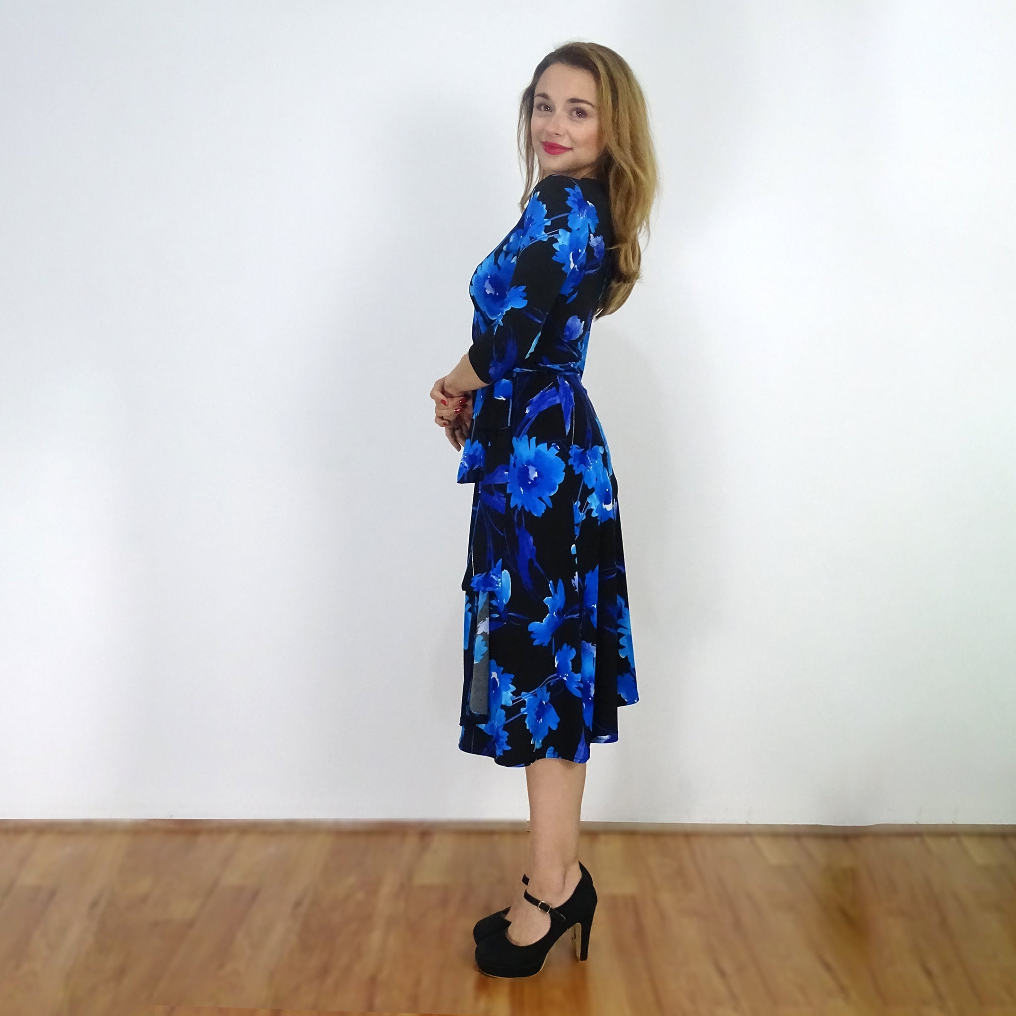 Blue Daze ¾ Sleeve Wrap Dress - Rebecca Ruby